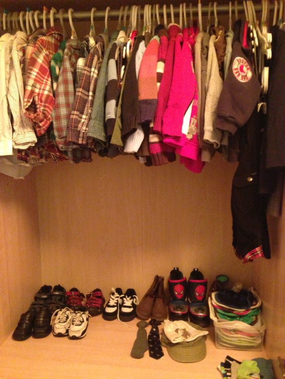 And here's my full closet, complete with shoe, tie, and bib collection. What? I dress up sometimes and I drool always.